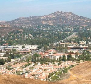 Poway, California mountain and town with road